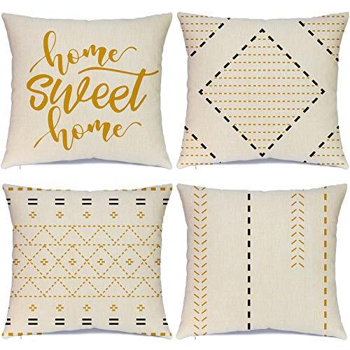 Hlonon Juego de 4 fundas de cojín decorativas para sofá, diseño de rayas geométricas, cuadradas, para cama, sofá, sala de estar, decoración del hogar, 45,7 x 45,7 cm