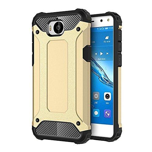 FLHTZS Funda Huawei Nova Young Mya-L11 Carcasa Caja de teléfono móvil, combinación TPU + PC, Hermosa Mano de Obra(Oro)