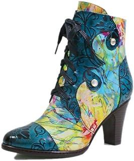 Morbida Pelle Women Casual Stivaletti Vintage Stile Etnico Stivali da Cowboy Lace-Up Stampato Invernali Snow Boots Caldo