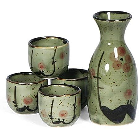 Exquisite Ceramic Japanese Sake Set with 4 Shot Glass//Cups MNBVC Japanese Sake Set Serving Carafe /& Warmer Bowl