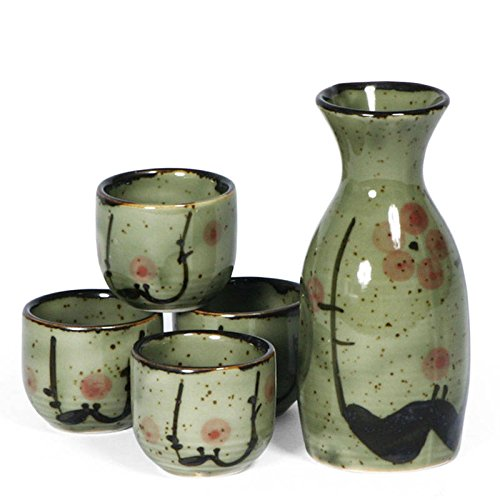 Happy Sales HSSE70/MU, Japanese 5 Pc Sake Carafe & Cup Set Green Cherry Blossoms