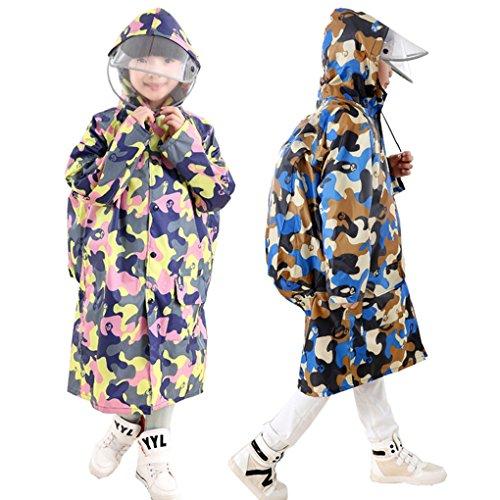 FakeFace Kinder Regenmantel Regenjacke mit Kapuze für Kinder Schüler Jungen Mädchen wasserdichte Regenkleidung Raincoat Regencape mit Rucksack Platzierung
