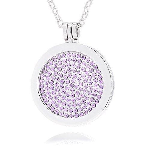 Morella Mujeres Collar 70 cm Acero Inoxidable y Colgante Amuleto Coin 33 mm Piedras brillants de Color Lila 33 mm para Damas, en Bolsa para Joyas