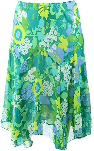 Bob Mackie Fully Lined Floral Print Skirt Green S New A202154