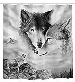 goodbath Wolf Duschvorhang, Tiermotive Wölfe Liebhaber, fantastischer Stoff, wasserdicht und schimmelresistent, Badezimmer-Vorhänge, 183 x 183 cm, grau-weiß