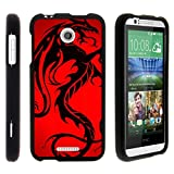 TurtleArmor | Compatible with HTC Desire 510 Case [Slim Duo] Two Piece Hard Cover Slim Snap On Case on Black - Red Dragon