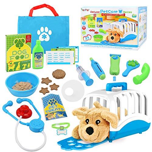 Vanplay Pet Care Toy Rollenspel Set met Puppy Hondendraagtas Arts Dierenartsenpakket Fantaseren Behandelen Pluche Hondenspeelgoed Verzorging Voeden voor kinderen 3 4 5 6