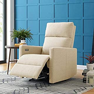 Domesis Ali Power - Linen Wall Hugger Reclining Chair with USB Port, Oatmeal Tan