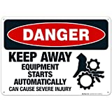 Keep Away Equipment Starts Automatically Can Cause Severe Injury Sign, OSHA Danger Sign, 10x14 Inches, Rust Free .040 Aluminum, Fade Resistant, Indoor/Outdoor Use, Made in USA by Sigo Signs