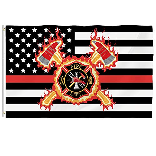 Bonsai Tree Firefighter Flag 3x5 Ft - Vivid Color and Double Stitched - Large Double Sided Polyester US Thin Red Line Flags with Brass Grommets for Indoor Outdoor Decoration