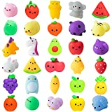 MALLMALL6 30Pcs Mochi Squeeze Toys for Kids Party Decorations Favors Stress Relief Birthday Gift Treat Goodie Bags Fruit and Random Animals Shape Kawaii Mini Toys Classroom Prize for Boys Girls