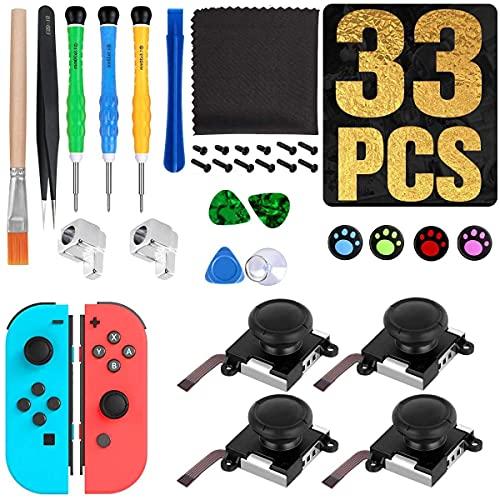 Sweetone 4 pezzi Joystick analogico , Aottom 3D Joystick Sostituzione per Nintendo Switch Joy-Con Sinistro/Destro Joysticks Controller ,Include set completo di strumenti di riparazione (33 in 1)