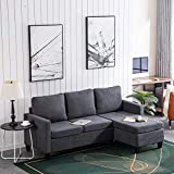 Bonnlo Convertible Sectional Sofa L Shaped Sectional Couch Small 3-Seater Sectional Sofas,Modern Living Room Sectional Sofa Couch with Reversible Chaise (Dark Grey)