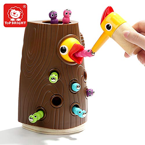 TOP BRIGHT Magnetic Toddler Toy Game Set, Fine Motor Skill Preschool Toys, Pretend Play for Girl and Boy 2 Years Old, Catching and Feeding Game