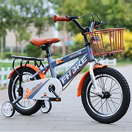 HYDL Kinderfahrrad - 12/14/16/18 Zoll - Stützräder - Luftbereifung - Ab 2-9 Jahren - Jungen & Mädchen - Kinder Fahrrad - Kinderrad - mit Puppensitz und Fahrradkorb,Orange,16in