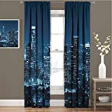 Apartment Decor Collection All season insulation Los Angeles Buildings at Night Monochromatic Photo Scenery Town Dusk Scenic Noise reduction curtain panel living room W42 x L72 Inch Dark Teal Navy Bu