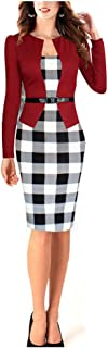 Vobaga Women's Patchwork Tunic Wear to Work Business Dress