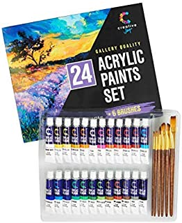 Acrylic Paint Set & Brushes with Rich Pigments in 24 Vivid Colors with 6 Pro Brushes is Great for Intermediate, Advanced and Hobby Painters from Kids Through Adults by Creative Joy (24 Paints)
