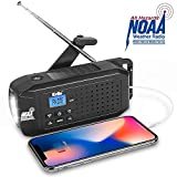 KELLO Emergency Solar Hand Crank Portable Radio, NOAA Weather Radio for Household and Outdoor Emergency with AM/FM/SW, LED Flashlight,2200mAh Power Bank USB Charger and SOS Alarm