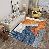 Alfombra de área Abstracta Moderna geométrica marroquí, Cajas abstractas contemporánea Espesa Suave y Suave salón salón alfombras, fácil de Limpiar-Azul 2_80x120cm