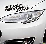 SUPERSTICKI Mitsubishi Performance Rennflagge Fahne ca 30 cm Rennsport Racing Tuning Hobby Sticker Decal Deko Aufkleber Sticker Decal aus Hochleistungsfolie Aufkleber Autoaufkleber...