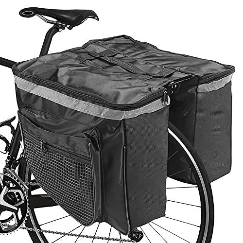 Gohytal Alforja para bicicleta, 25 L, multifuncional, bolsa para el sillín de bicicleta, bolsa doble para bicicleta de montaña y bicicleta de montaña