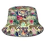 GodYo Bucket Hat Packable Reversible Tigers Plumas Hojas Flores Imprimir Sun Hat Fisherman Hat Cap Camping al Aire Libre