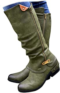Women's Mid Waterproof Calf Boots Retro PU Leather Knee Middle Tube Boots Low Heel Combat Style Closed Toe Army Booties