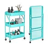 GFL 3 Etagen Klappbar Servierwagen, Rollwagen Metall Storage Trolley Cart Küchen Organizer mit Rollen für Bad Küche Kinderzimmer Waschküche Büro