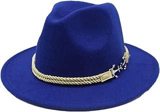 TX GIRL Cowboy Hat Wide Brim Hat Men Women Fedora Hat Wool Felt Braided Rope Pirate Hat Ladies Men's Hat Wide-Brimmed Hat Jazz Church Godfather Wide-Brimmed Hat Novelty Party Costumes