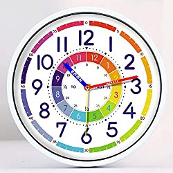 Time Teaching Clock 12 Inch Silent Wall Clock for Kids Learning Time, Silent Non-Ticking Quartz Decorative Wall Clock for Teacher's Classrooms or Children's Bedrooms