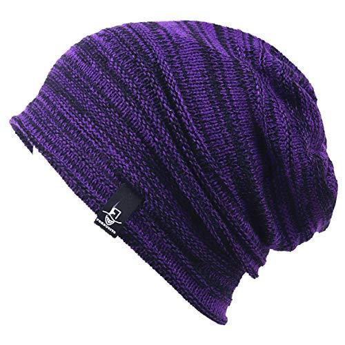 VECRY Kids Slouchy Beanie Winter Hat Cute Boys Girls Children Knitted Skull Cap (Retro-Purple)