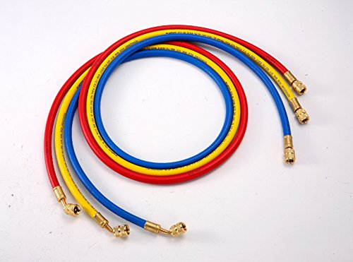 "ELANMAX 1/4"" Standard 3-pc AC Charging Hose Set For All CFC, HCFC, and HFC Refrigerants, 72'' Made In The USA Hose"
