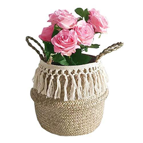 WANGDEE Seegras gewebtes Übertopf Korb,Blumentopf Korb mit Griff Handgewebt Garten Container für Pflanzentöpfe Geflochten Körbe Faltbar Blumenkorb