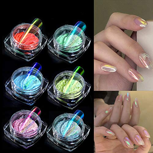 LEAMALLS 6 pièce ensemble Ongles en Poudre Nail art Glitter, Miroir manucure Kit de Pigment décoration de maquillage oeil de chat effet