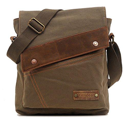 """Uomo e borsa sacchetto di spalla propenso studenti Vintage Canvas multifunzionale borsa da viaggio sacchetto di svago Retro tela di canapa delle donne, Messenger Bag zaino tracolla singola borsa cartella Laptop Bag Satchel misura per iPad Sumsang e altri tablet marca Formato: 30cm (11.81 """") x6cm (2.36"""") × 32CM (12.6 """") (green)"""