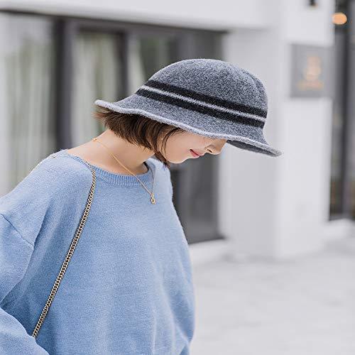 mlpnko Sombrero de Punto de Lana Que combina con el Color pequeo a lo Largo del Sombrero de Pescador Gorro de Lavabo Sombrero pequeo Sombrero de Mujer Gris Oscuro M (56-58cm)