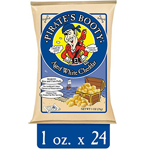 Pirate's Booty Cheese Puffs, Healthy Kids Snacks, Real Aged White Cheddar, (Pack of 24) (1 Ounce) Indvidually Sized Bags