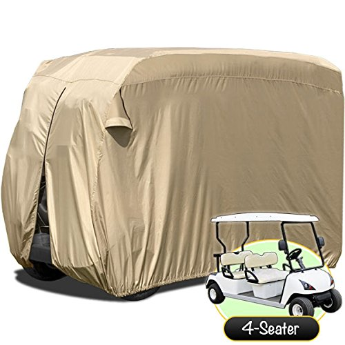North East Harbor Waterproof Superior Beige Golf Cart Cover Covers for Club Car, EZGO, Yamaha, Fits Most Four-Person Golf Carts