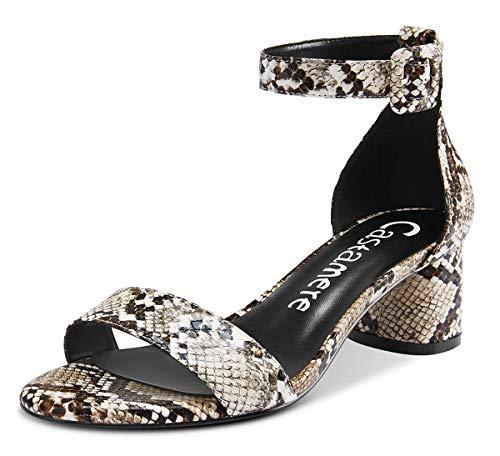 CASTAMERE Zapatos de Tacón Mujer Tira de Tobillo Punta Abierta Sandalias Ancho Tacón 5CM
