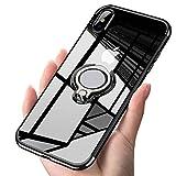 Alsoar Transparent Coque Compatible avec iPhone 6 Plus/6S Plus,Silicone Gel Anti-Choc Mince Placage Bumper Housse Lustre Métal 360° Bague Support Téléphone Voiture Magnétique Etui Case(Noir)