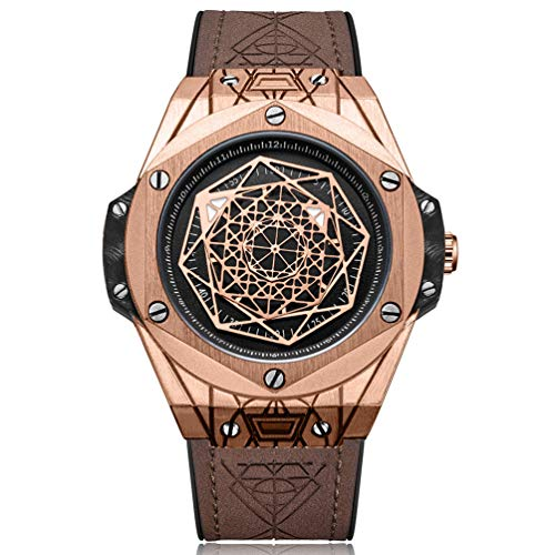 RUIMAS Herren Uhren Großes Braun Leder Armband Wasserdicht Big Bang Hohl Rose Gold Männer Uhren - Kein Zeiger