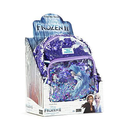 Nice Group Mochila Infantil Frozen II Girabla con Lentejuelas Brillantes, Color Morado y Blanco Perlado, para la Escuela y el Tiempo Libre, 01002C