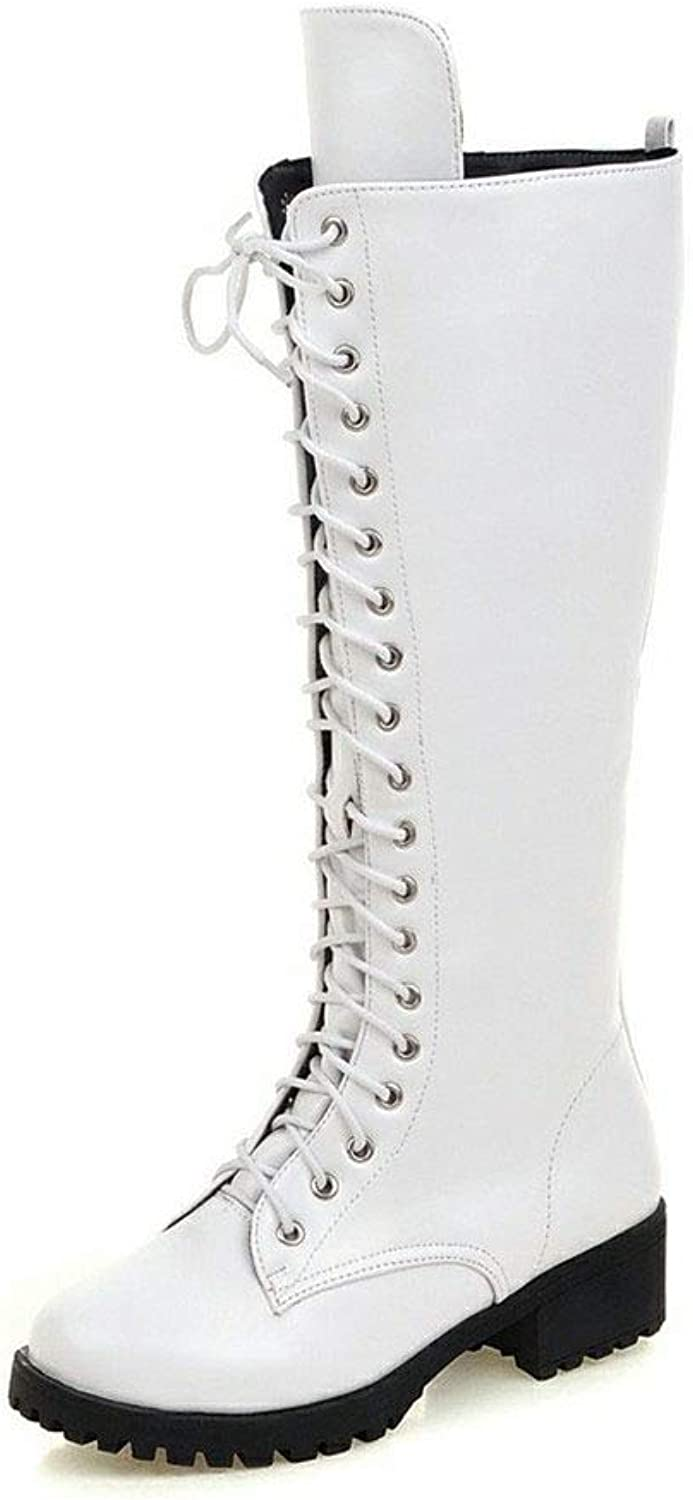SENERY Women Fashion Riding Lace-Up Boots Comfortable shoeslace Knee-high Boots Round Toe Thigh High Booties Black