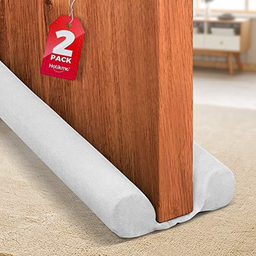 Holikme 2 Pack Twin Door Draft Stopper Weather Stripping Noise Blocker Window Breeze Blocker Adjustable Door Sweeps 34inch White