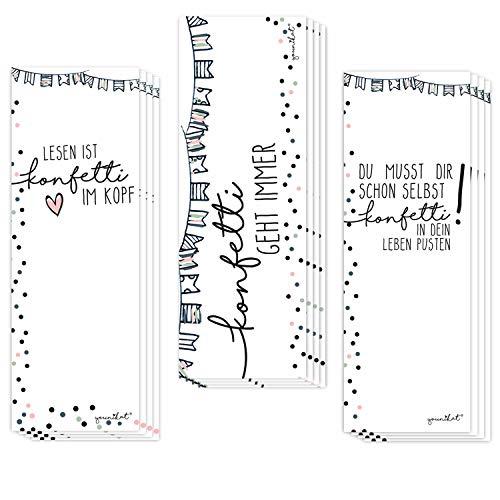 12er Set Lesezeichen mit Konfetti Motiv und schönen Sprüchen I 3 Motive I für Mädchen Teenager Frauen I dv_431