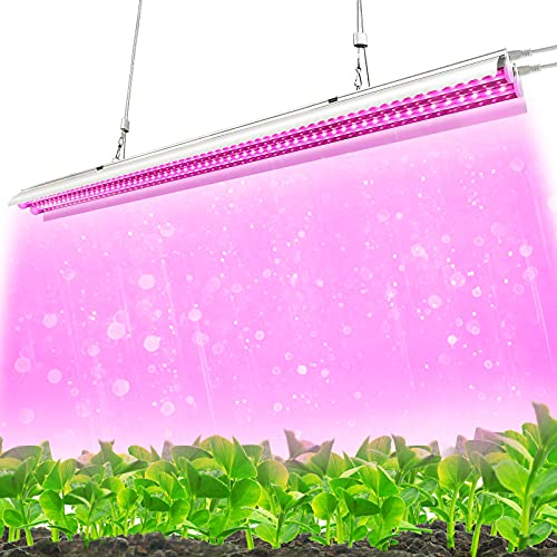 Monios-L Grow Light, LED Plant Light for Indoor Plants, Full Spectrum, T5 4FT 60W Dual Growing Strips with Hanging System, Individual ON/Off Switch for Seed Starting/Hydroponic/Veg