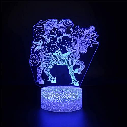 XKUN Luz 3D para Niños, Lámpara de Ilusión 3D Led Led 3D Night Hogwarts Lámpara de Ilusión Óptica 3D, 8 16 Regalos para Niñas de 6 Años, Regalo de Cumpleaños para Niños de 9 Años,Caballo P