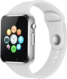 Smart Watch - 321OU Touch Screen Bluetooth Smart Wrist Watch Smartwatch Phone Fitness Tracker with SIM SD Card Slot Camera Pedometer for iPhone iOS Samsung LG Android for Women Men Kids (White)