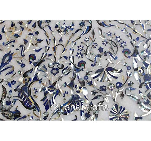 72 x 72 Inches White Marble Lawn Table Top Hand Inlaid Dining Table with Shiny Gem Stone Work